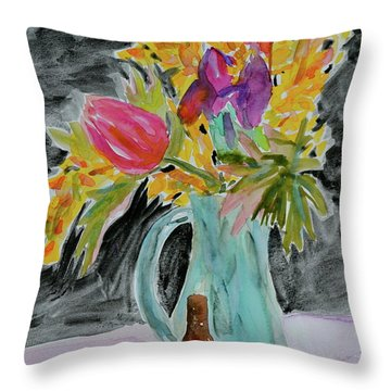 Throw Pillow featuring the painting Bursting Bouquet by Beverley Harper Tinsley