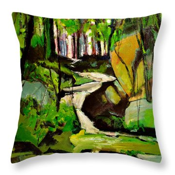 Throw Pillow featuring the painting Bursting Creek In Maconaquah Park by Charlie Spear