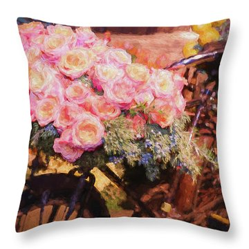 Bursting With Flowers Throw Pillow by Patrice Zinck