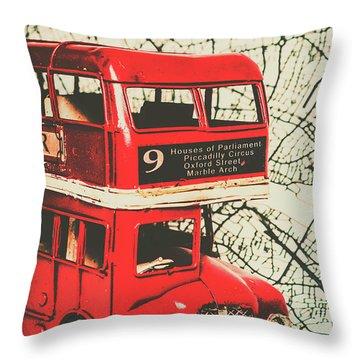 Bus Line Art Throw Pillow