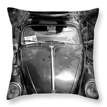 Bus On Bug Throw Pillow by Laurie Perry