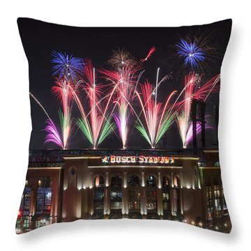Busch Stadium Throw Pillow by Andrea Silies