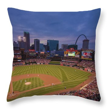 Busch Stadium St. Louis Cardinals Ball Park Village Twilight #3c Throw Pillow