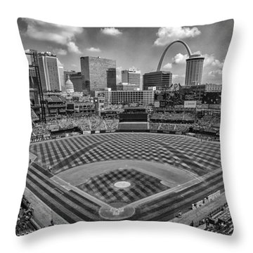 Busch Stadium St. Louis Cardinals Black White Ballpark Village Throw Pillow
