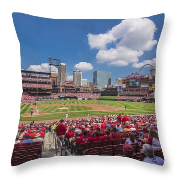 Busch Stadium St. Louis Cardinals Cardinal Nation Ballpark Village Day #2a Throw Pillow