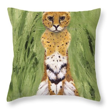 Throw Pillow featuring the painting Bush Cat by Jamie Frier