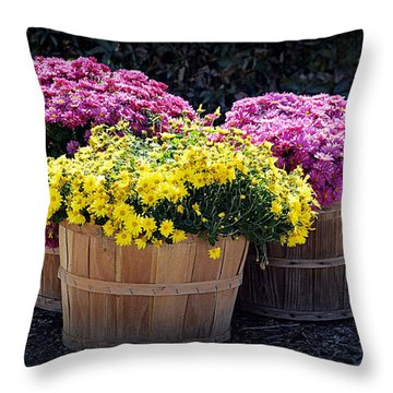 Throw Pillow featuring the photograph Bushels Of Fall Flowers by AJ Schibig