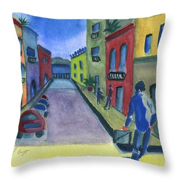 Business In Old San Juan Throw Pillow by Frank Bright