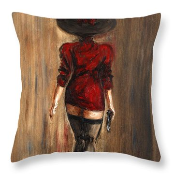 Business Lady Throw Pillow by Arturas Slapsys