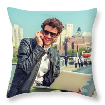 Businessman Enjoying Working Outside Throw Pillow