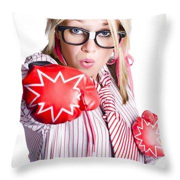 Businesswoman Training Throw Pillow by Jorgo Photography - Wall Art Gallery