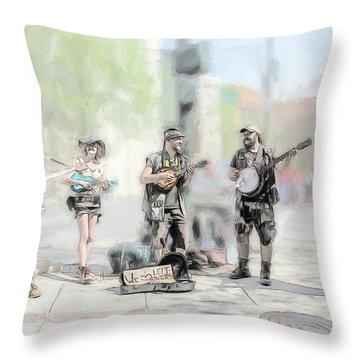 Busker Quintet Throw Pillow