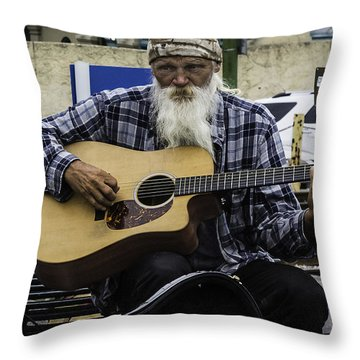 Busking In New Orleans, Louisiana Throw Pillow