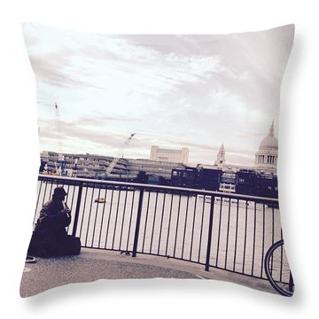 Busking Place Throw Pillow
