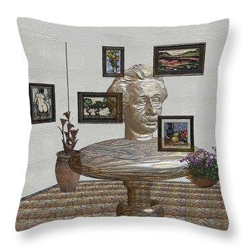Bust Of The Spirit Of Einstein 1 Throw Pillow by Pemaro