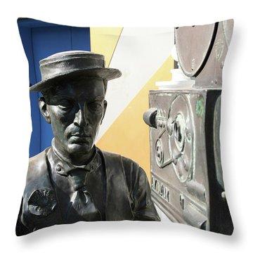 Buster Keaton On Camera Throw Pillow