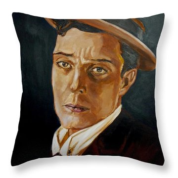Buster Keaton Tribute Throw Pillow by Bryan Bustard
