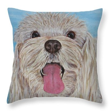 Throw Pillow featuring the painting Buster by Nancy Nale