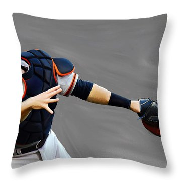 Throw Pillow featuring the painting Buster Posey by Jeff DOttavio