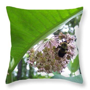 Busy As A Bee Throw Pillow by Anna Villarreal Garbis