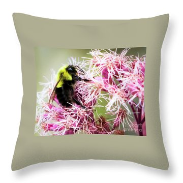 Throw Pillow featuring the photograph Busy As A Bumblebee by Ricky L Jones
