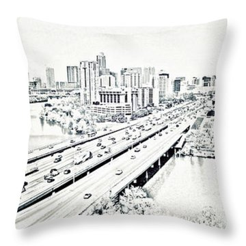 Busy Austin In Stamp Throw Pillow