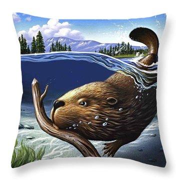 Beaver Throw Pillows
