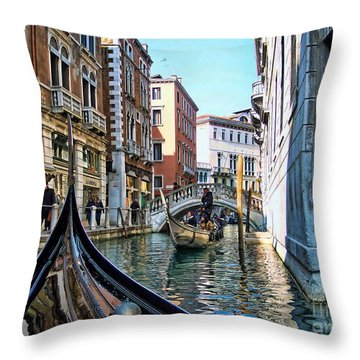 Throw Pillow featuring the photograph Busy Canal by Roberta Byram