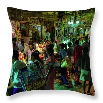Throw Pillow featuring the photograph Busy Chennai India Flower Market by Mike Reid