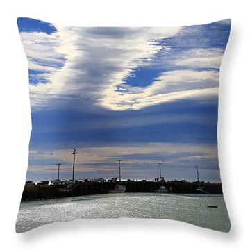 Throw Pillow featuring the photograph Busy Day At The Wharf by Nareeta Martin