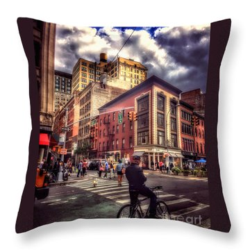 Busy Day In The City Throw Pillow
