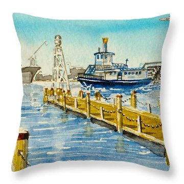 Busy Day On The Elizabeth River Throw Pillow