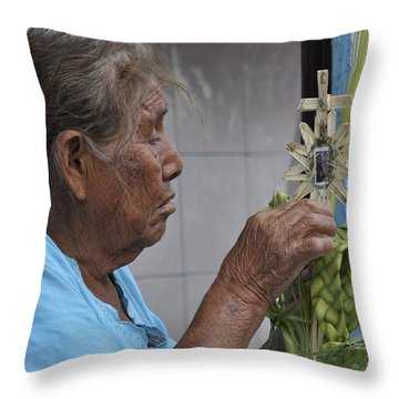 Throw Pillow featuring the photograph Busy Hands by Jim Walls PhotoArtist
