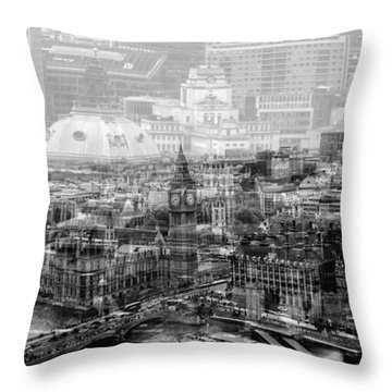 Busy London Throw Pillow
