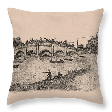 Busy Richmond Bridge And Fishermen Throw Pillow