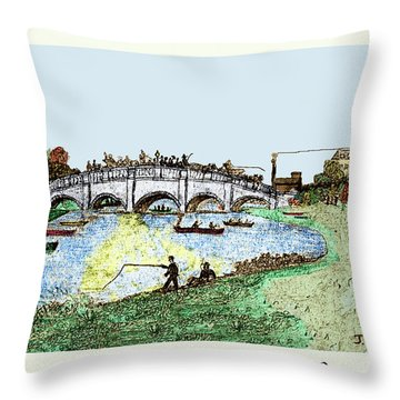 Busy Richmond Bridge Throw Pillow