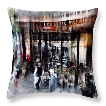 Busy Sidewalk Throw Pillow