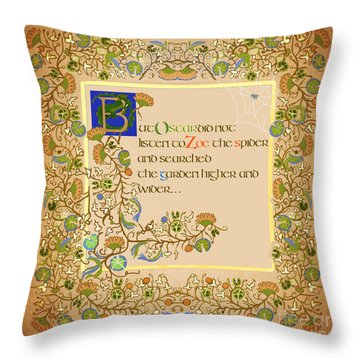 Throw Pillow featuring the digital art But Oscar Did Not Listen by Donna Huntriss