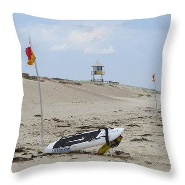 But The Beach Is Empty Throw Pillow