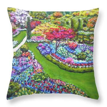 Throw Pillow featuring the painting Butchart Gardens by Amelie Simmons