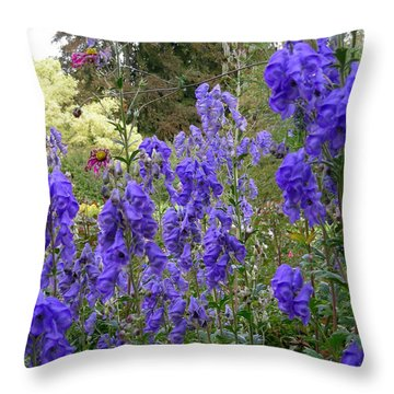 Butchart Gardens Blues Throw Pillow