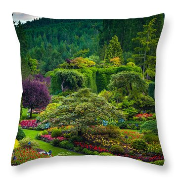 Butchart Gardens Sunset Throw Pillow