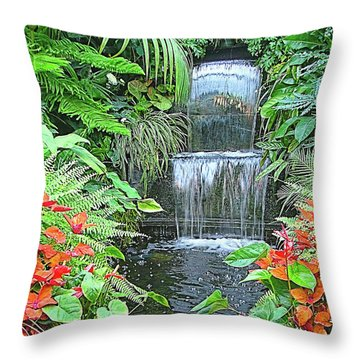 Butchart Gardens Waterfall Throw Pillow