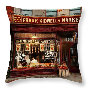 Throw Pillow featuring the photograph Butcher - Meat Priced Right 1916 by Mike Savad