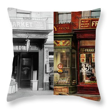 Throw Pillow featuring the photograph Butcher - Meat Priced Right 1916 - Side By Side by Mike Savad