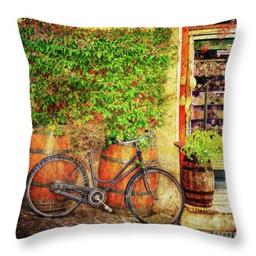 Throw Pillow featuring the photograph Butcher Shop Bicycle by Craig J Satterlee