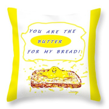 Throw Pillow featuring the drawing Butter For My Bread by Denise Fulmer