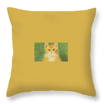 Throw Pillow featuring the drawing Buttercup by Denise Fulmer