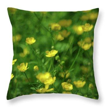 Buttercup Field- Butler Creek Trail- Gresham- Oregon Throw Pillow