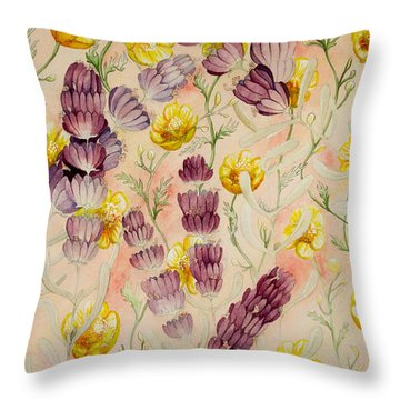 Buttercups And Lavendar Throw Pillow